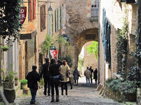 Village street of Cordes-sur-Ciel, France