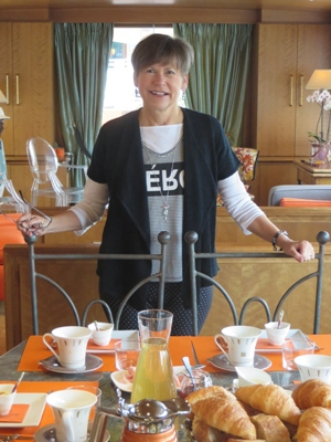 Beth ready for breakfast on MS Elisabeth
