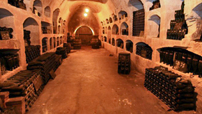 Champagne cellars underground in Epernay