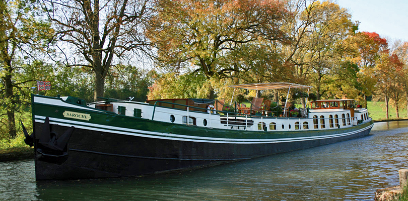 Saroche barge cruise on the Marne River, Champagne, France